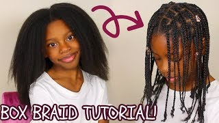How To: Kids BOX BRAIDS Tutorial (No Hair Added) Easy Protective Hairstyle For Little Girls