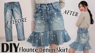 DIY Pearl Flounce Denim Skirt From Your Old Jeans | DIY Pants | Clothes Transformation #thriftflip