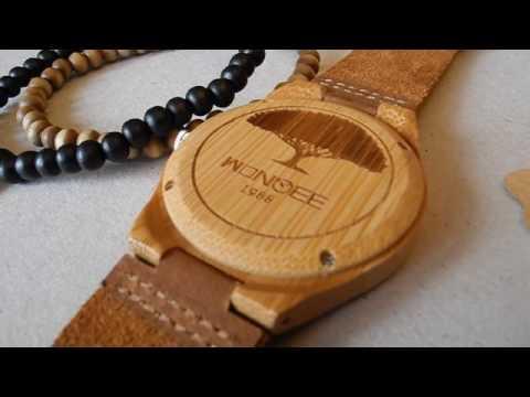 wonbee Herren Bambus Holz Uhren INFINITY Sign Design