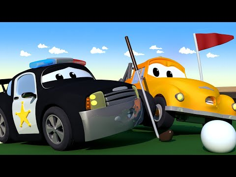 Tom the Tow Truck - Mat The Police Car Hits Penny The Plane While Playing Golf! - Trucks cartoons