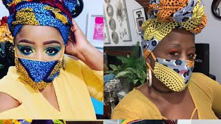 : DIY HOW TO MAKE  AFRIKA HEAD WRAP WITH MASK ! THE EASIEST EVER