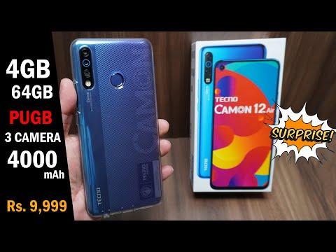 Tecno Camon 12 Air unboxing, Macro mode, 4000 mAh battery, 4GB/64GB price Rs. 9,999