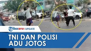 Anggota TNI Baku Hantam dengan Polisi di Pinggir Jalan Kota Palembang