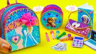 DIY Miniature Frozen Elsa School Supplies ~ Backpack, Notebook, Pencil Case