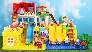 Peppa Pig House Construction Sets - Lego Duplo House With Water Slide Creations Toys For Kids #4