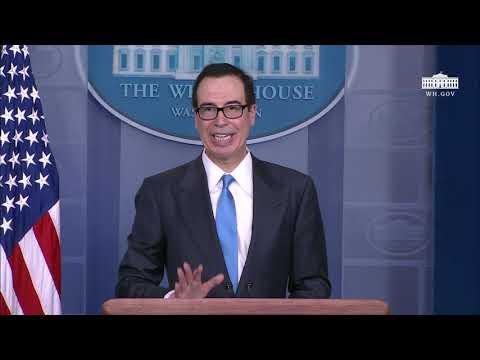 Treasury Secretary Mnuchin Briefs Reporters