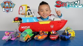 Paw Patrol Sea Patroller Vehicles And Characters Complete Set Toys Unboxing With Ckn