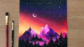 Glowing Night Sky | Forest Acrylic Painting Tutorial Step By Step | Acrylic Painting On Canvas