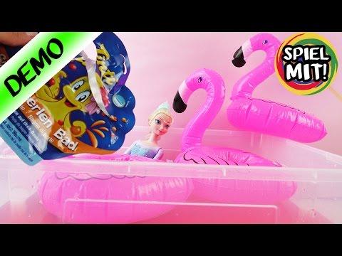 Flamingo Getränkehalter zum Aufblasen   Coole Schwimmtiere für Barbie und Elsa   Demo Tintibad
