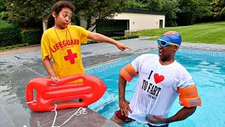MY DAD'S SWIMMING LESSON!!