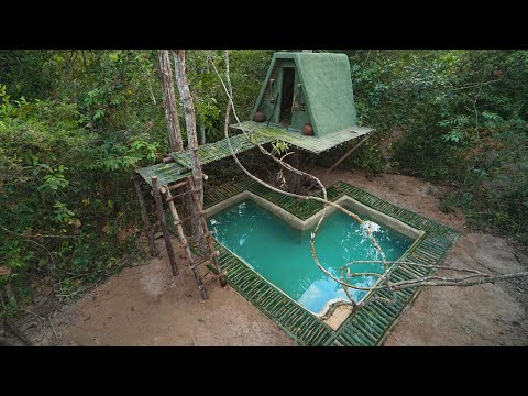 Build Green Tree House Master And Paradise Bamboo Underground Swimming Pool