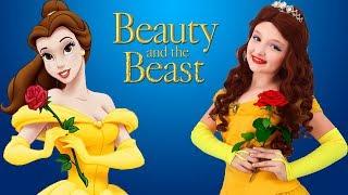 Disney Princess Dresses & Kids Makeup Beauty and the Beast, Belle,Super Elsa & Pretend Magic Cosplay