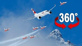 Fliegen Sie mit Swiss und Patrouille Suisse über St. Moritz (360-Grad-Video)