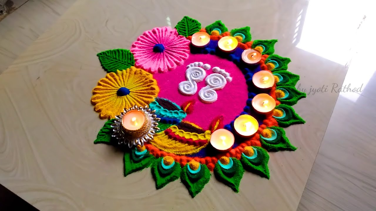 lakshmi puja diwali rangoli design by jyoti rathod