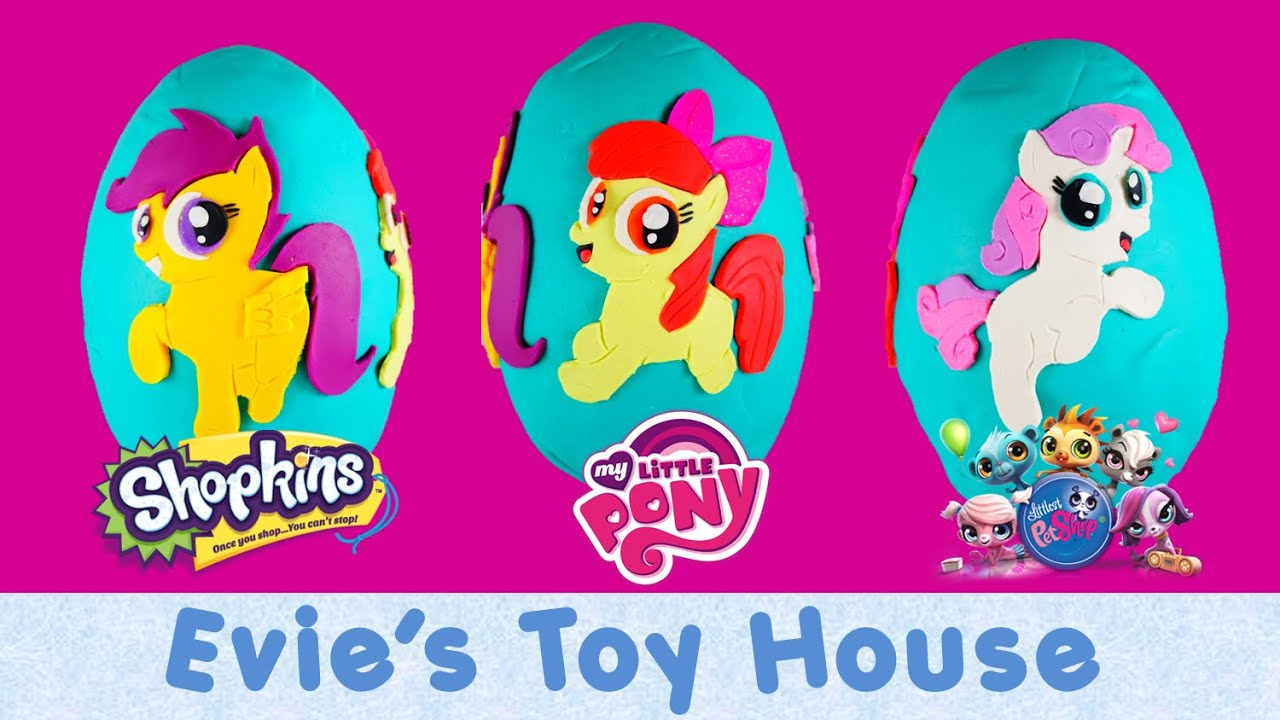 GIANT Surprise Playdoh egg with MLP Cutie Mark Crusaders Apple Bloom, Scootaloo, Sweetie Belle