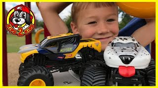 Monster Jam Toy Trucks PLAY AT THE PARK: 1 HR COMPILATION | X-Men Wolverine & Monster Mutt Dalmatian