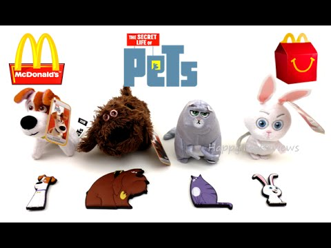 2016 THE SECRET LIFE OF PETS MOVIE MAGNETS McDONALD'S HAPPY MEAL TOYS SET OF 4 PROMO KIDS COLLECTION
