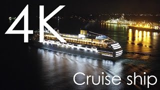 Costa Victoria - Cruise Ship Aerial Night View 4K Video / 空撮 室蘭の工場夜景と客船
