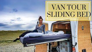 Van Tour | COUPLE design UNIQUE vanbuild, BEAUTIFUL wood work and SLIDING BED