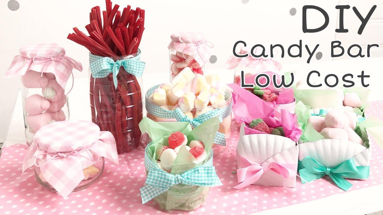 DIY Cómo hacer una Candy Bar Low Cost. Cómo hacer recipientes para fiestas/Party ideas containers