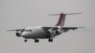 preview picture of video 'London City Airport Plane Spotting. West Approach, Rainy Landings and Takeoffs'