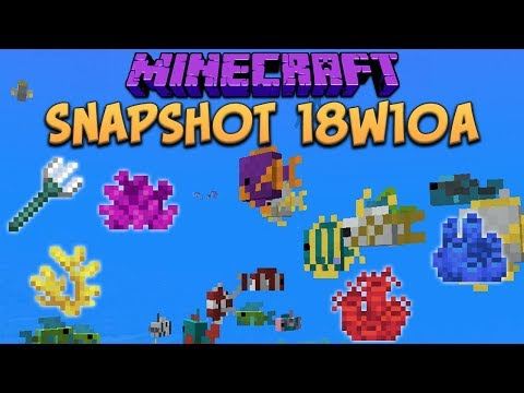 Minecraft 1.13 Snapshot 18w10a Tropical Fish! Map Markers & Buried Treasure! (Update Aquatic)