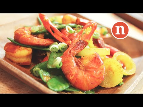 Stir-fry Turmeric Shrimp   Udang Goreng Kunyit [Nyonya Cooking]