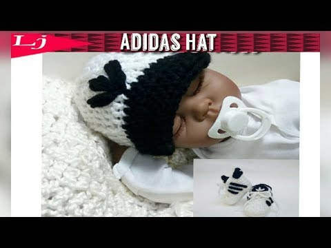 Infant Adidas Hat: Crochet Adidas hat