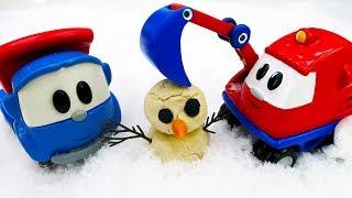 Видео про машинки: Грузовичок Лева и друзья сделали снеговика!