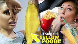 I only ate YELLOW food for 24 HOURS challenge!!!
