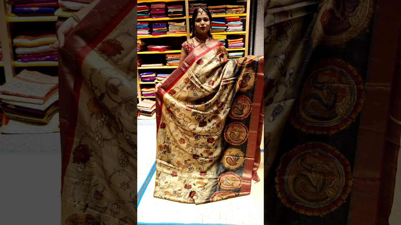 """<p style=""""color: red"""">Video : </p>KALAMKARI TUSSER SAREES FROM MUGDHA FOR ORDERS 9949047889 2021-10-16"""