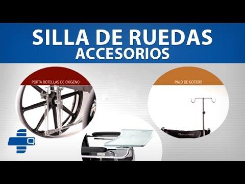 Accesorios para Silla de Ruedas: Porta-botellas de oxígeno, palo de gotero y bandeja