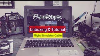 UNBOXING & TUTORIAL MENGGUNAKAN USBFLIGHT SIMULATOR FS-SM100 FLYSKY Fs-16 ke APLIKASI FPV FREE RIDER