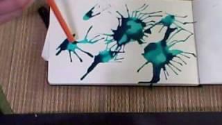 Смотреть онлайн Рисунок с помощью акварели и воздуха
