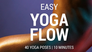 Easy Yoga Flow for beginners 10 minute home yoga workout. Yoga challenge 40 Yoga Pose practice.