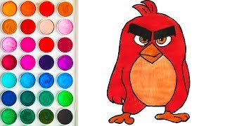 Colorings with Red Angry Birds for Toddler, Tutorial on Drawing for Toddlers