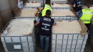 video: Watch: Italian police seize 14 tonnes of 'jihad drug' pills worth €1 billion after they were shipped from Syria