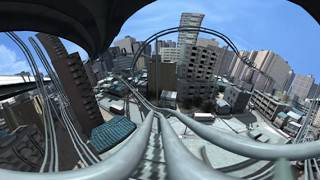 【非現実】摩訶不思議なジェットコースターの街 3D 360度VR (3D and  360degree roller coaster)