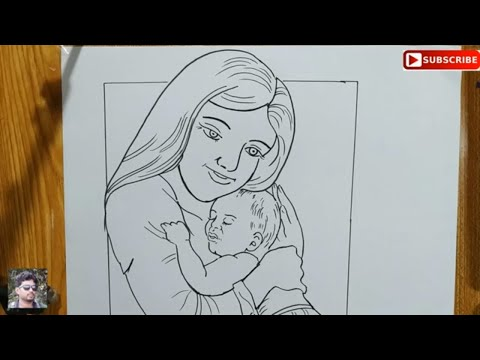 how to draw mother and baby easy line art step by step,easy line drawing mother and baby