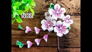 【100均材料だけで つまみ細工】着物髪飾り 卒業式髪飾り作り方 Kanzashi Flower  Fabric Flower DIY