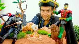 Супергерои и Пираты - Бэтмен и Робин на пикнике! - Видео с игрушками.