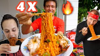 4 X Spicy FIRE RAMEN Challenge 🔥🥵 EXTRA THAI CHILIES🌶️ @The Food Ranger @Best Ever Food Review Show