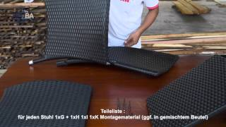 Ergänzung zur Aufbauanleitung - Rattan Sitzgarnitur 8+1 (17 teilig) Milchglas - schwarz