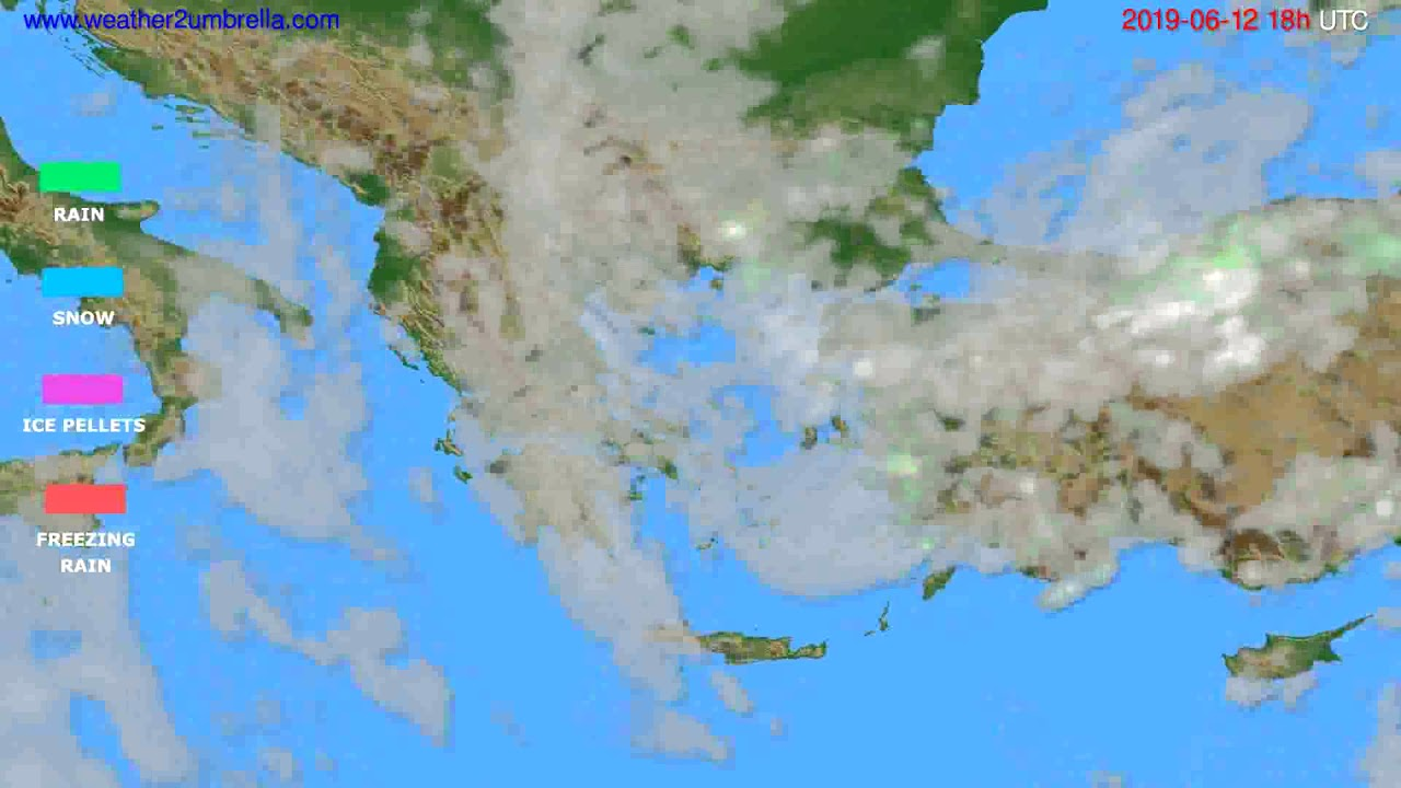 Precipitation forecast Greece // modelrun: 12h UTC 2019-06-10