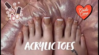 French Tip Acrylic Toes W/ Bling!   WATCH ME DO MY TOES!