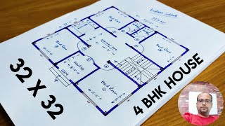 32 X 32 House Plan II 4 Bhk House Plan II 32x32 Ghar Ka Naksha II 32x32 House Design