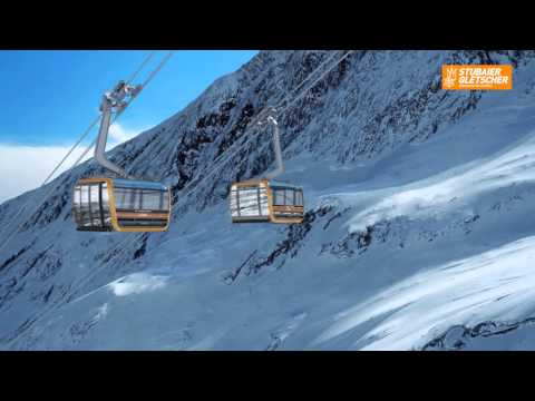 Lanovka 3S Eisgratbahn na ledovci Stubai