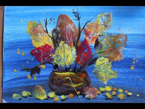 Нарисовать букет Осенних листьев поэтапно для детей. Нетрадиционная техника.  Рисование гуашью.