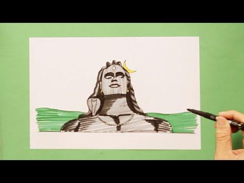 How to draw Adiyogi Shiva statue