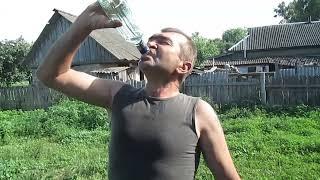 мужик выпил залпом бутылку водки 0.5 л. the man chugged a bottle of vodka 0.5 l